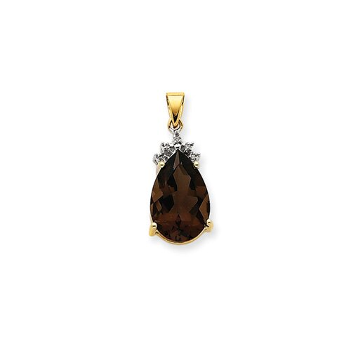 Jewelryweb 14k Smokey Quartz and Diamond Pendant