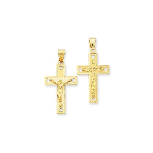 Jewelryweb 14k Solid Crucifix Pendant
