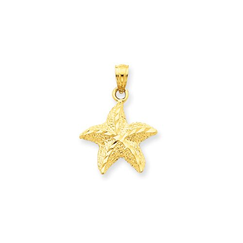 Jewelryweb 14K Starfish Pendant- Measures 22.5x16mm