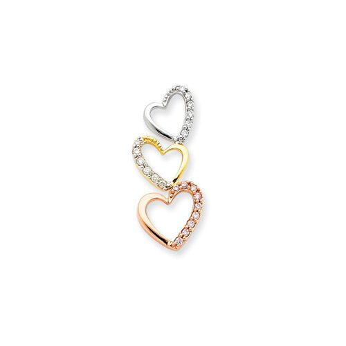 14k Tri Color Diamond Triple Heart Pendant