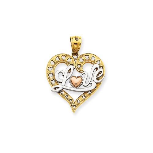 14k Tri-color and Rhodium Love Heart Pendant