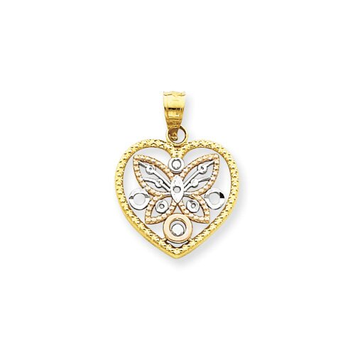 Jewelryweb 14K Tri-color Butterfly in Heart Pendant
