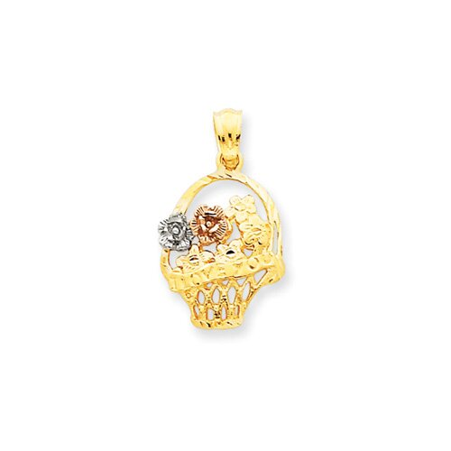 Jewelryweb 14k Tri-color Flower Basket Pendant