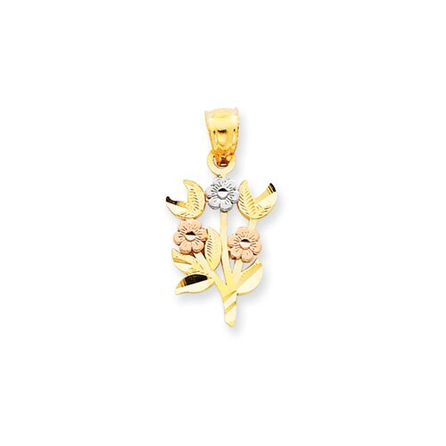 Jewelryweb 14k Tri-color Flower Pendant
