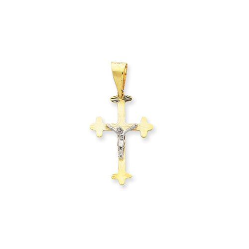 Jewelryweb 14K Two -Tone Crucifix Pendant