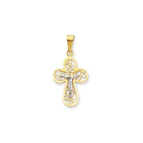Jewelryweb 14K Two -Tone Crucifix Pendant