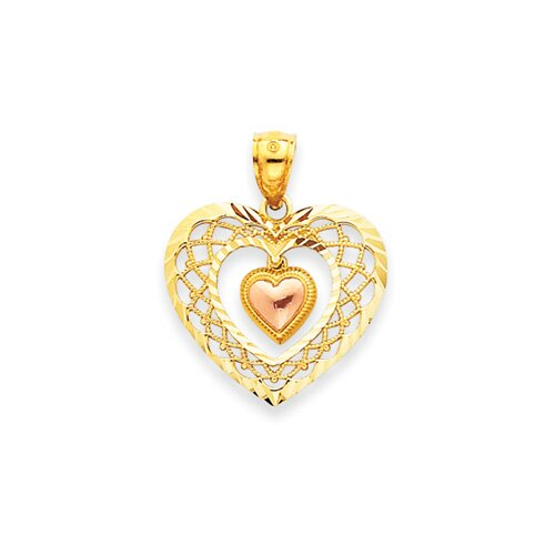Jewelryweb 14k Two-tone Diamond-Cut Heart Pendant