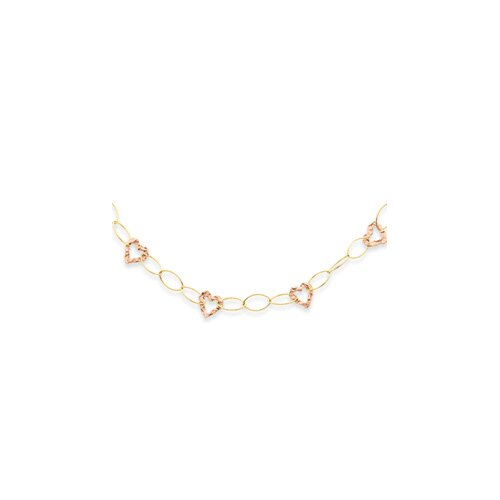 14K Two-Tone Fancy Heart Necklace - 18 Inch- Spring Ring
