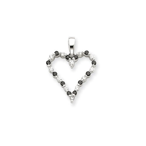 Jewelryweb 14k White Gold Black and White Diamond Heart Pendant