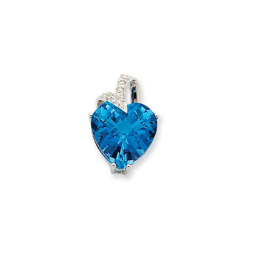 14K White Gold Blue Topaz and Diamond Heart Pendant