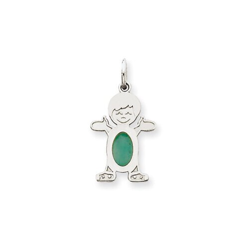 14k White Gold Boy Oval Genuine Emerald May Pendant
