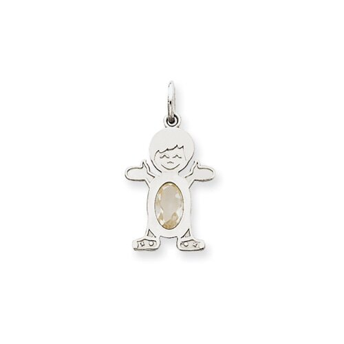 14k White Gold Boy Oval White Topaz April Pendant