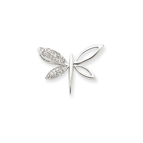 14k White Gold Diamond Dragonfly Pendant