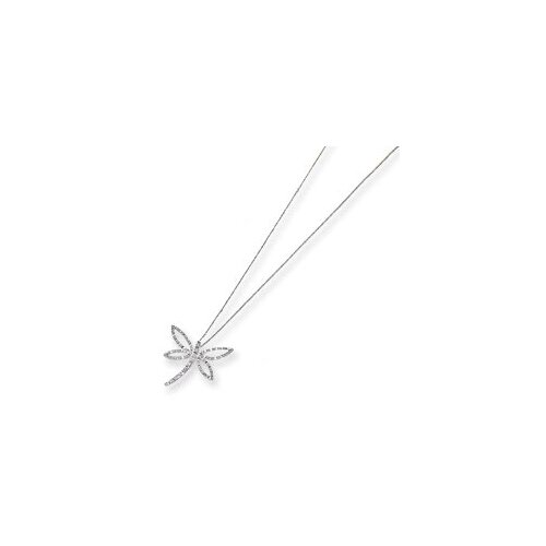 14k White Gold Diamond Fascination Dragonfly Necklace
