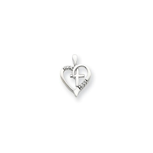Jewelryweb 14k White Gold Diamond Heart and Cross Pendant- Measures 13.2x18.3mm