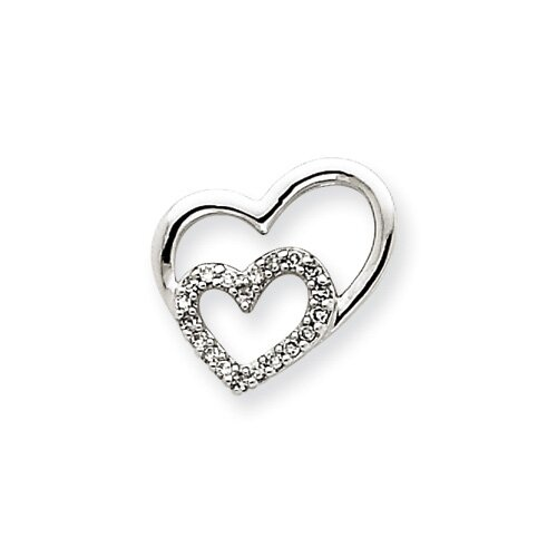 Jewelryweb 14k White Gold Diamond Heart Pendant
