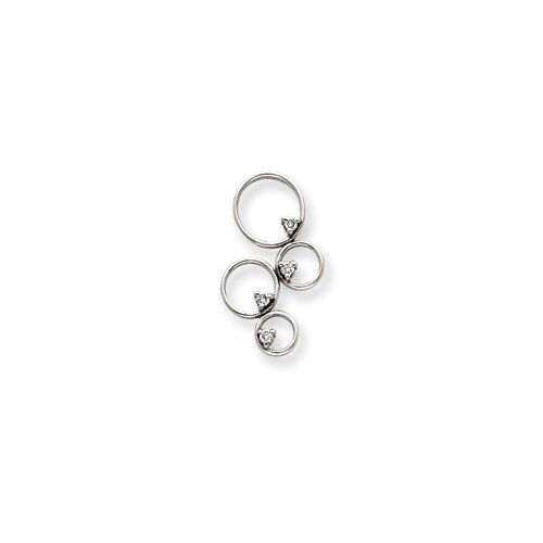 14k White Gold Diamond Pendant- Pendant Size: 30x17mm
