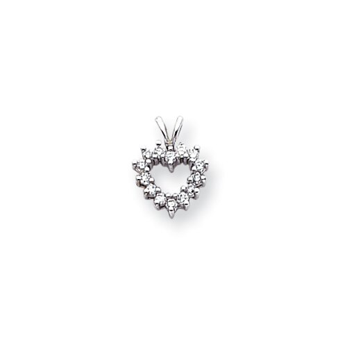 14k White Gold Diamond Pendant- Pendant Size: 18x11mm