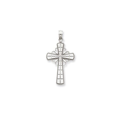 Jewelryweb 14k White Gold Polished Cross Pendant