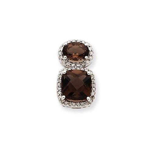 14k White Gold Smokey Quartz and Diamond Two-stone Pendant