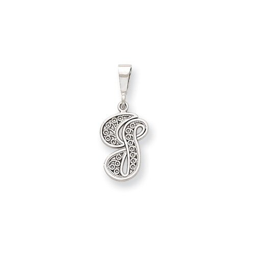 Jewelryweb 14k White Gold Solid Polished Filigree Initial G Pendant