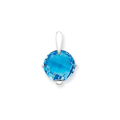 14K White Gold Blue Topaz Pendant