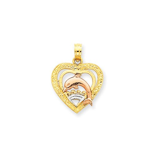 Jewelryweb 14k Yellow and Rose Gold With Rhodium Dolphin Heart Pendant