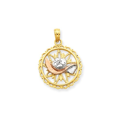 Jewelryweb 14k Yellow Rose Gold With Rhodium Cowboy Hat Circle Pendant