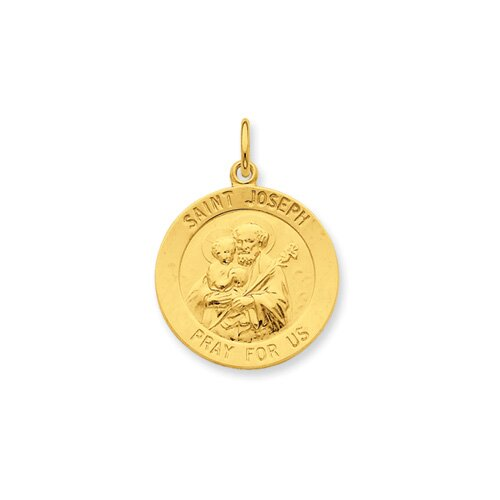Jewelryweb 24k Gold-plated Sterling Silver St. Joseph Medal Pendant