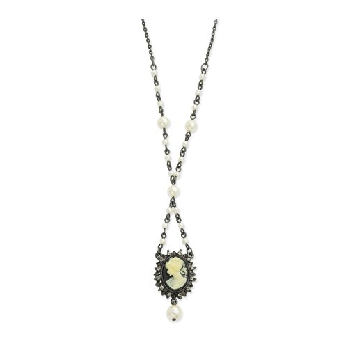 Black-plated Cameo Blk Crystal Glass Pearl 15 In Necklace