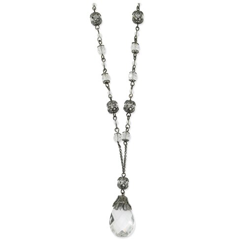 Black-plated Crystal Briolette Drop 16 Inch Necklace
