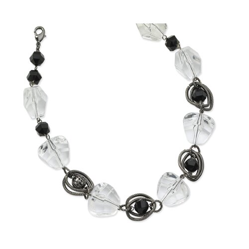 Black-plated Jet Clear Crystal Beaded 16 Inch Necklace