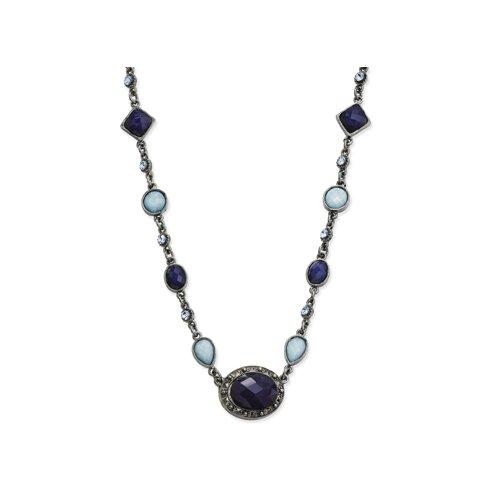 Black-plated Light Dark Blue Crystal Oval 16 Inch Necklace