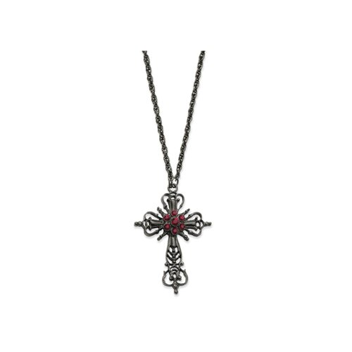 Jewelryweb Black-plated Rd Aurora Borealis Crystal Cross 30 In Necklace