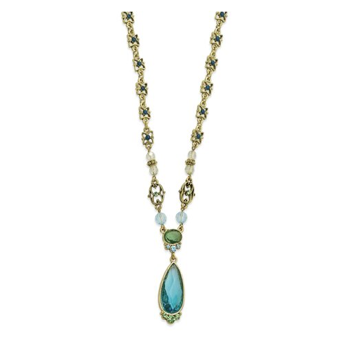 Brass-tone Aqua Green Crystal Teardrop 16 Inch Necklace