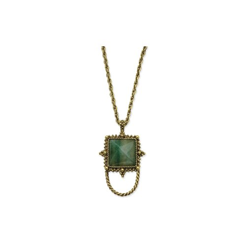 Brass-tone Aventurine Eyewear 30 Inch Necklace