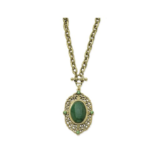 Brass-tone Aventurine Green Crystal Toggle Necklace