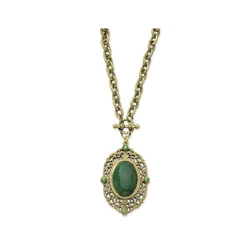 Jewelryweb Brass-tone Aventurine Green Crystal Toggle Necklace