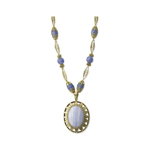 Brass-tone Blue Lace Agate Large Oval 16 Inch Necklace