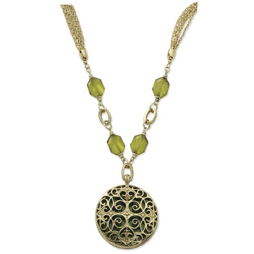 Brass-tone Olivine Crystal Large Medallion 36 InchNecklace