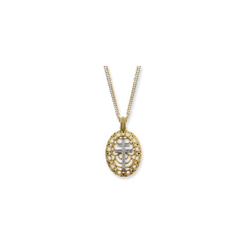 Jewelryweb Gold and Silver-tone Patriarchal Cross Necklace - 18 Inch