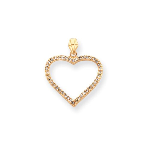 Jewelryweb Gold-plated CZ Heart Necklace - 18 Inch