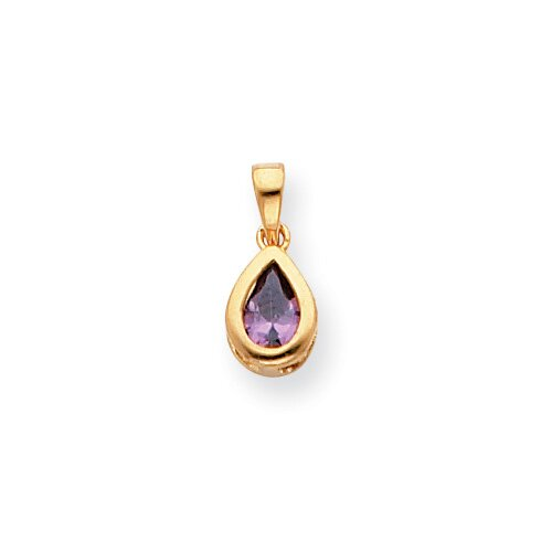Gold-plated February Teardrop CZ Necklace - 18 Inch