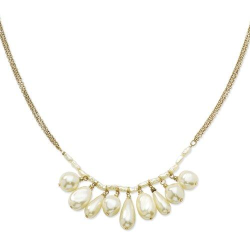 Gold-tone Cultura Glass Pearl Multi-drop 16 Inch Necklace