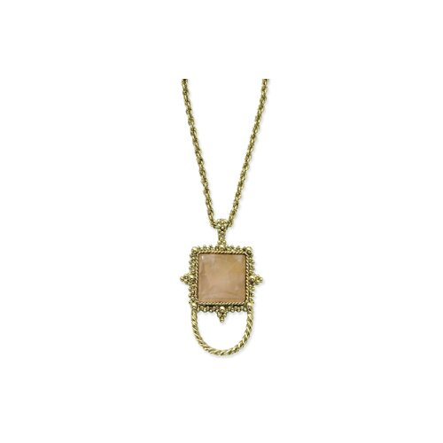 Jewelryweb Gold-tone Rose Quartz Eyewear 30 InchNecklace