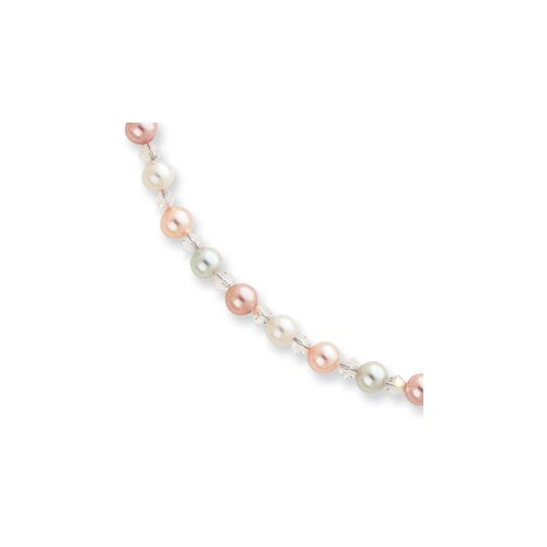 Jewelryweb Multicolored Glass Pearl Necklace