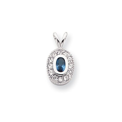 Rhodium-plated December Oval CZ Necklace - 18 Inch