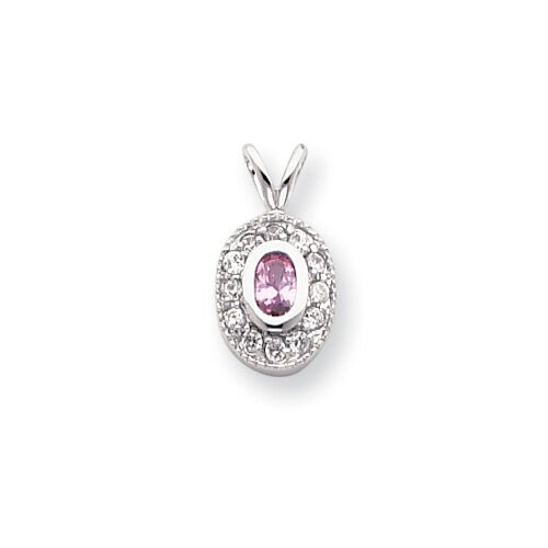 Rhodium-plated October Birthstone Oval CZ Necklace - 18 Inch