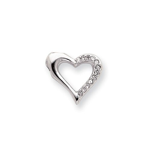 Rhodium-plated Open CZ Heart Necklace - 18 Inch
