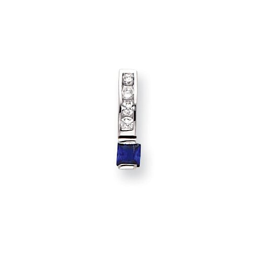 Rhodium-plated White Square Blue CZ Necklace - 18 Inch